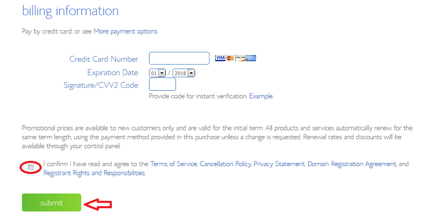 Bluehost - Enter Payment Details
