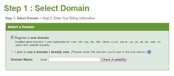 iPage - Choose Domain Name