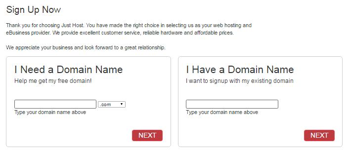 Justhost - Choose Domain