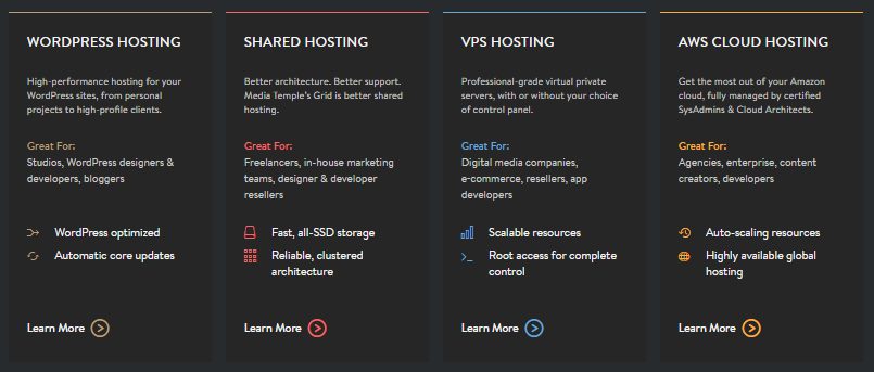 Media Temple - Select Type of Hosting