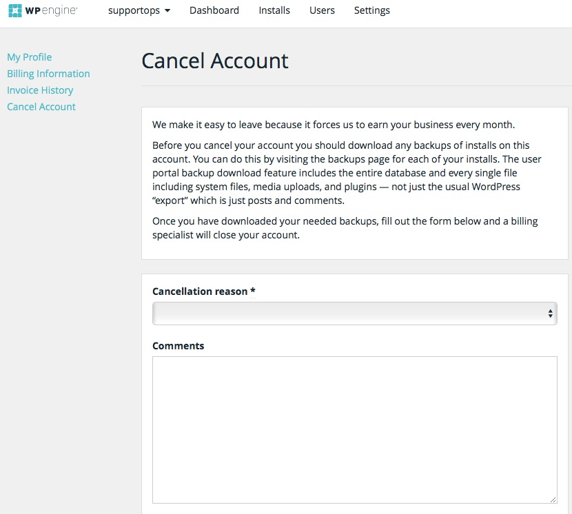 WP Engine Cancellation Form